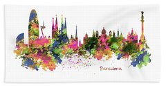 Barcelona Watercolor Skyline Beach Sheet by Marian Voicu