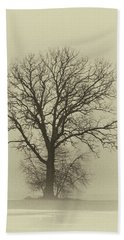 Bare Tree In Fog- Nik Filter Beach Towel