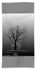 Bare Tree In Fog- Pe Filter Beach Towel