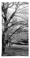 Bare Tree On Walking Path Bw Beach Towel by Sandy Moulder