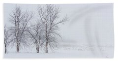 Bare Trees In A Snow Storm Beach Towel