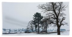Bare Trees In The Snow Beach Towel