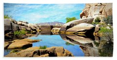 Beach Towel featuring the photograph Barker Dam - Joshua Tree National Park by Glenn McCarthy Art and Photography