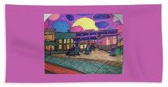 Beach Towel featuring the drawing Barkhausen Filling Station. by Jonathon Hansen