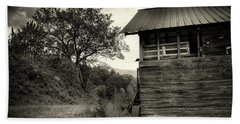Barn After Rain In Sepia Beach Towel by Greg Mimbs