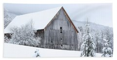 Barn After Snow Beach Towel