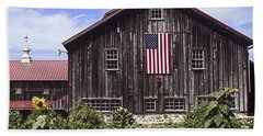 Barn And American Flag Beach Sheet