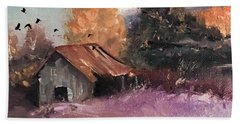 Barn And Birds  Beach Towel by Michele Carter