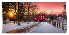 Barn At Sunset  Beach Towel