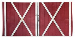 Beach Towel featuring the photograph Red Barn Doors by Sheila Brown