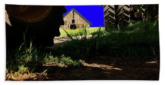 Barn From Under The Equipment Beach Towel