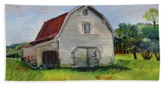 Beach Towel featuring the painting Barn-harrison Park, Ellijay-pinson Barn by Jan Dappen