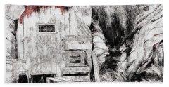Barn House And Blood On Door Beach Towel