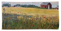 Barn In A Field Of Grain Beach Towel