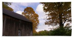 Barn In Fall Beach Sheet by Lois Lepisto