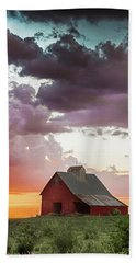 Barn In Stormy Skies Beach Towel