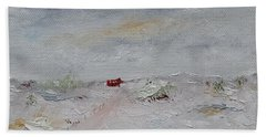 Beach Towel featuring the painting Barn In Winter by Judith Rhue