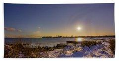 Barn Island Moonrise Beach Towel