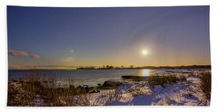 Beach Towel featuring the photograph Barn Island Moonrise by Kirkodd Photography Of New England