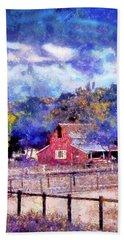 Barn On Ca Highway 154 Beach Sheet by Joseph Hollingsworth