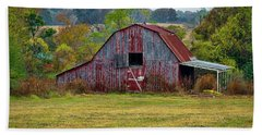 Barn On White Oak Road Beach Sheet