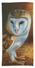 Barn Owl Blue Beach Towel