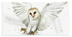 Barn Owl Flying Watercolor Beach Towel