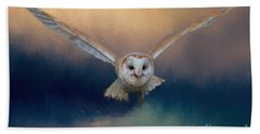 Barn Owl In Flight Beach Towel