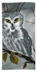 Barn Owl Ready For The Hunt Beach Sheet