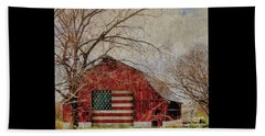 Barn With Flag In Winter Beach Sheet
