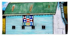 Beach Sheet featuring the painting Barn With Quilt by Jim Harris