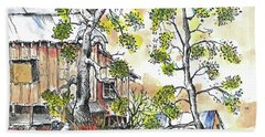 Barns And Trees 1 Beach Towel by Terry Banderas
