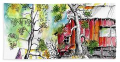 Barns And Trees 2 Beach Towel by Terry Banderas