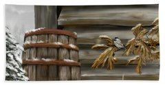 Beach Sheet featuring the digital art Barnyard Barrel And Chickadee by Darren Cannell