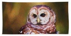 Barred Owl Portrait Beach Towel