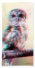 Barred Owl - Use Red-cyan 3d Glasses Beach Towel