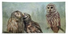 Beach Towel featuring the photograph Barred Owls - Steal A Kiss by Patti Deters