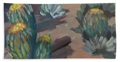 Beach Towel featuring the painting Barrel Cactus At Tortilla Flat by Diane McClary