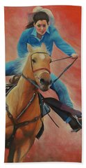 Barrel Racing Beach Towel by Jeanette French