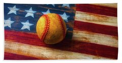 Baseball And Folk Art Flag Beach Towel