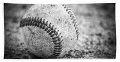 Baseball In Black And White Beach Towel