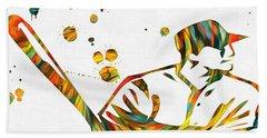 Baseball Player Paint Splatter Beach Towel by Dan Sproul