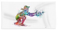 Baseball Softball Catcher 2 Sports Art Print Beach Towel by Svetla Tancheva