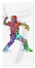 Baseball Softball Catcher 3 Watercolor Print Beach Towel