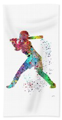 Baseball Softball Player Beach Towel by Svetla Tancheva