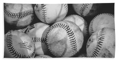 Baseballs In Black And White Beach Towel
