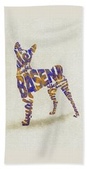 Beach Sheet featuring the painting Basenji Dog Watercolor Painting / Typographic Art by Inspirowl Design