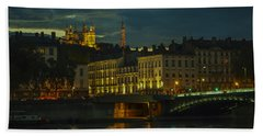 Beach Towel featuring the photograph Basilica Notre Dame De Fourviere From Across The Rhone River by Allen Sheffield