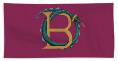 Beach Sheet featuring the digital art Basilisk Letter B by Donna Huntriss