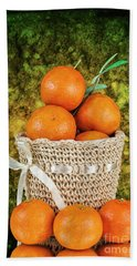 Basket Full Of Oranges Beach Sheet